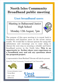 public meeting NI broadband poster.